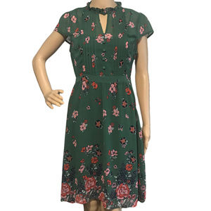 ModCloth Sheer Floral Keyhole Pintuck Dress M